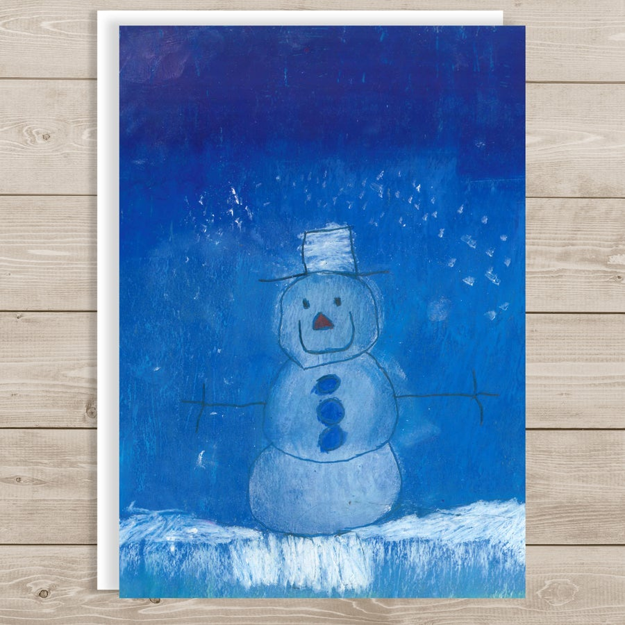"""Image of Nighttime Snowman <br> """"Blessings of Christmas"""""""