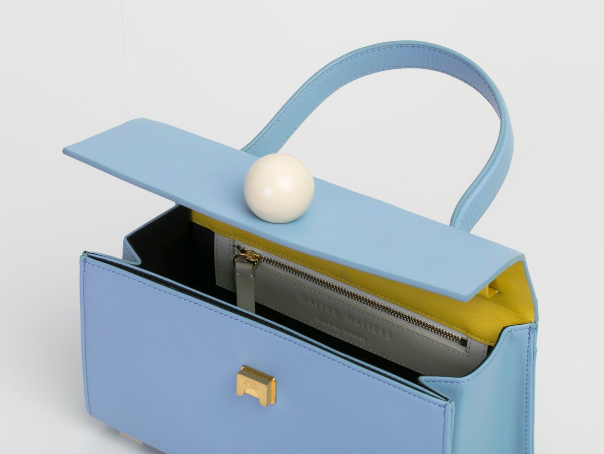 Image of Mini Trapezoid satchel bag • Light blue with strap
