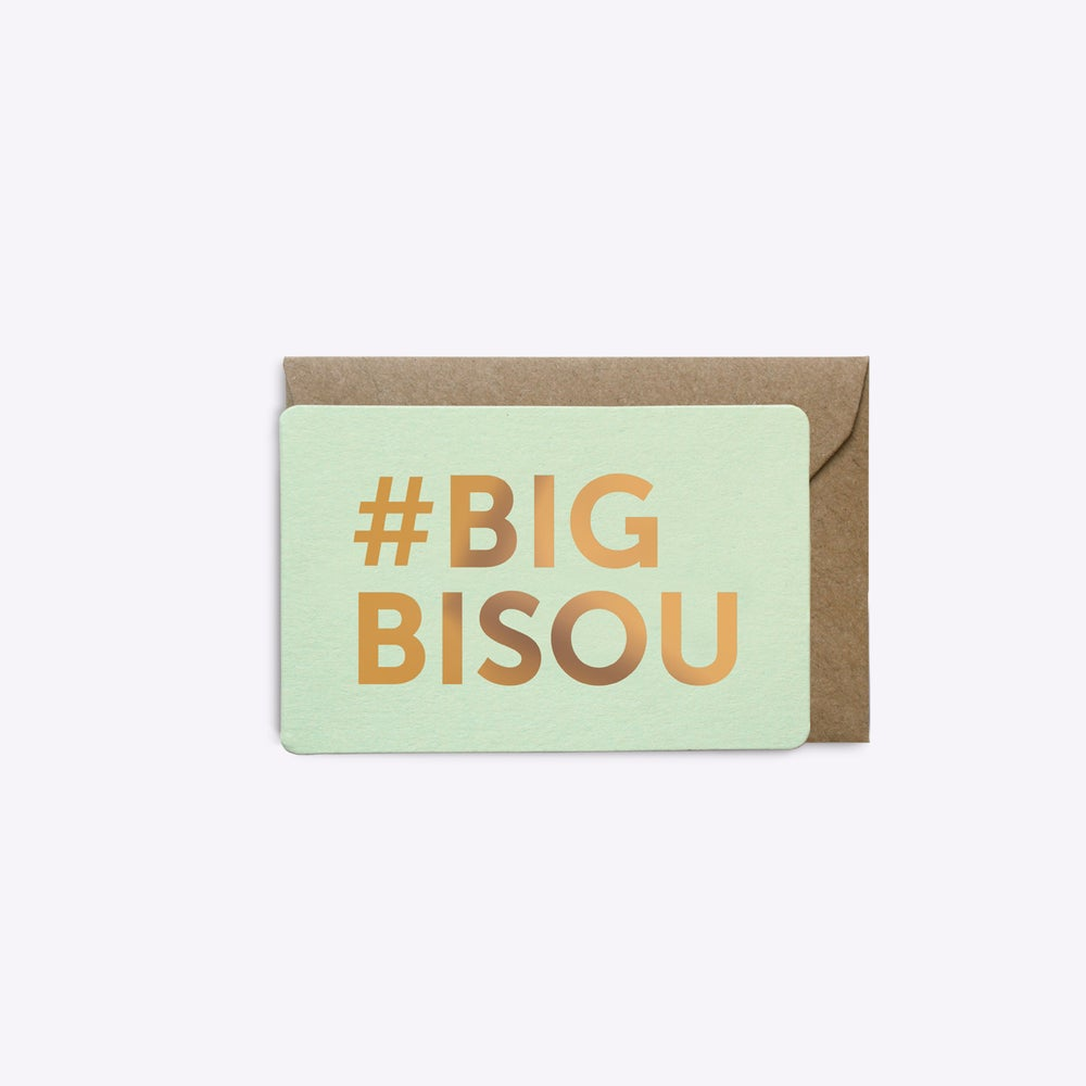 Image of MINI-CARTE #BIGBISOU vert d'eau
