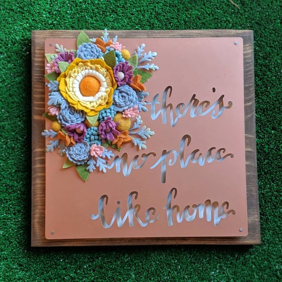 """Image of Copper and Wood """"There's no place like home"""" Quote Wall Decor with Mustard, Purple and Gray Felt Flo"""