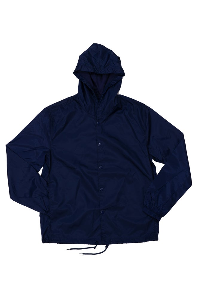 Image of navy nylon tiny tim hooded windbreaker-unisex sizing