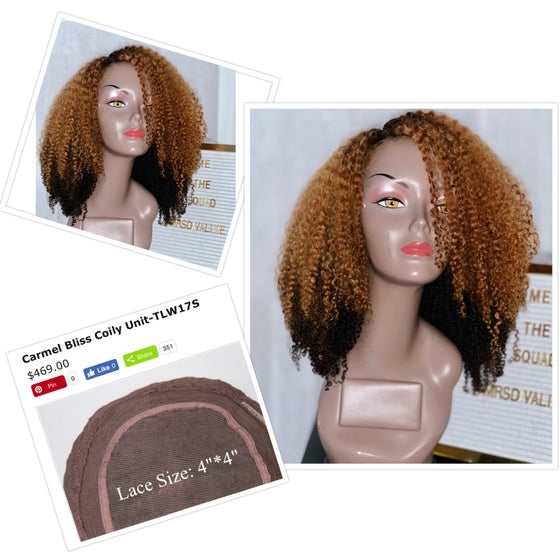 Image of Naturally curly 2 tone wig
