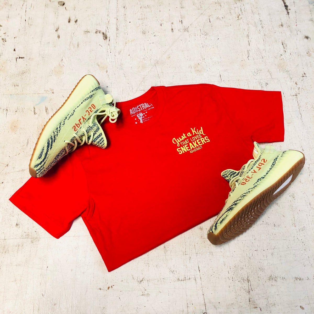 "Image of JUST A KID THAT LOVES SNEAKERS EMBROIDERY ""RED/NEON YELLOW EMBROIDERY"" T-SHIRT & HOODY (WOMENS&MENS)"