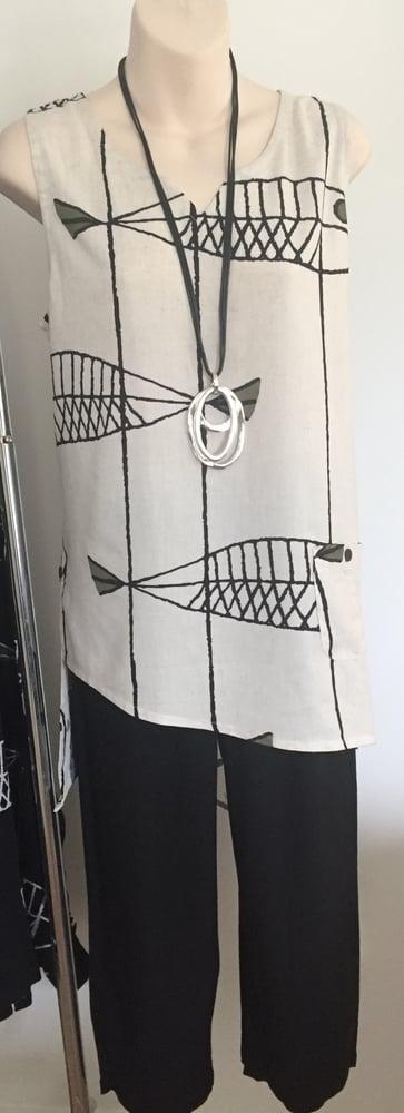 Image of Linen top fish print