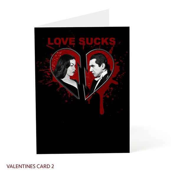 Image of Love Sucks Valentine Card / Official Bela Lugosi / Vampira