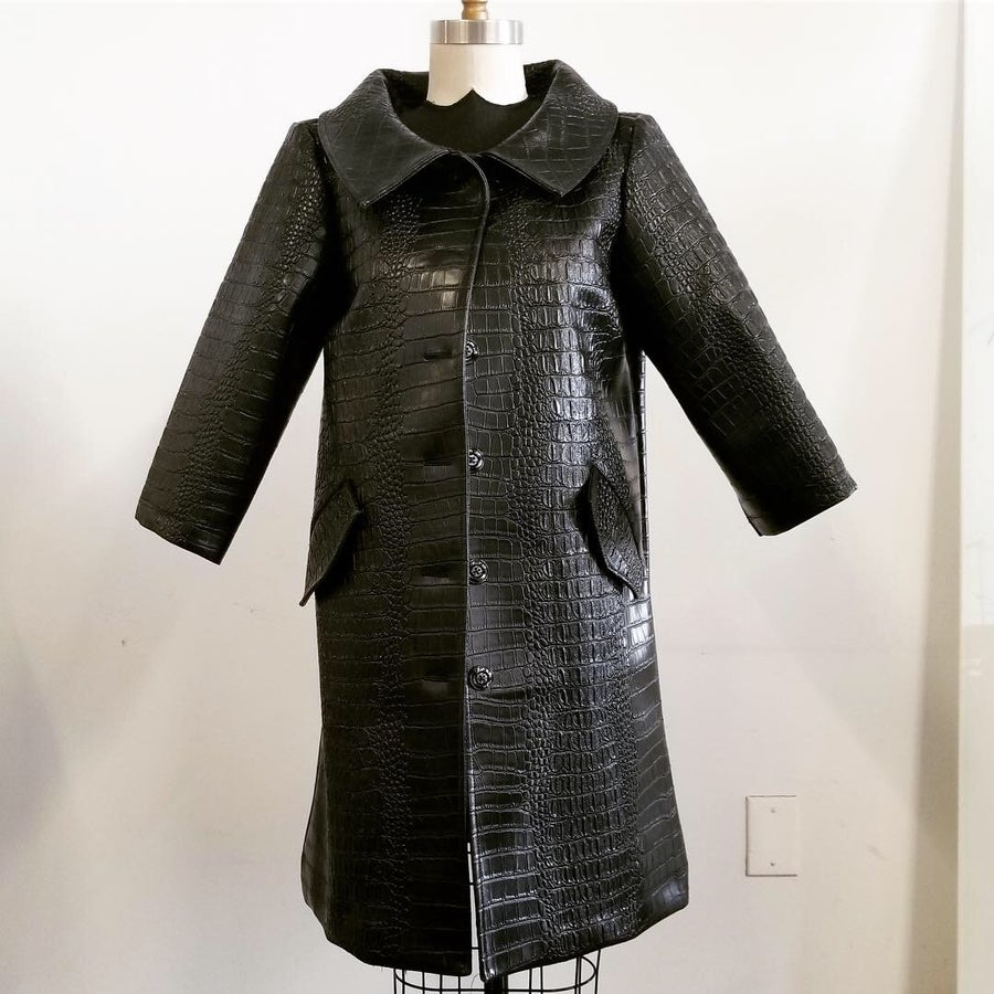 Image of Embossed Croc Vinyl Trench Coat