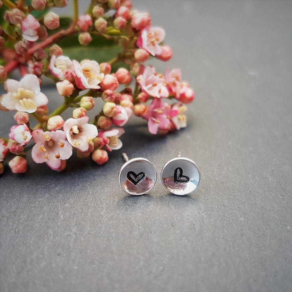 Image of Heart Tiny Silver Stud Earring