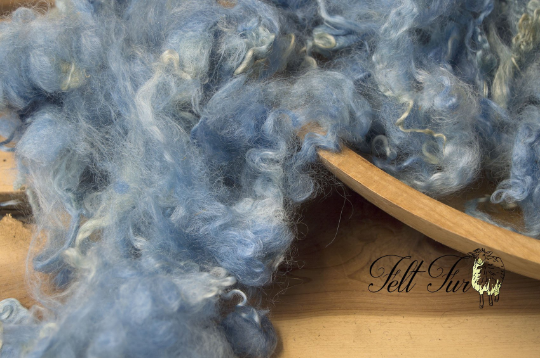 Image of Light Blue Basket Filler Fluffy Curls Baby Felt Prop (4), Newborn Photo Prop. RTS