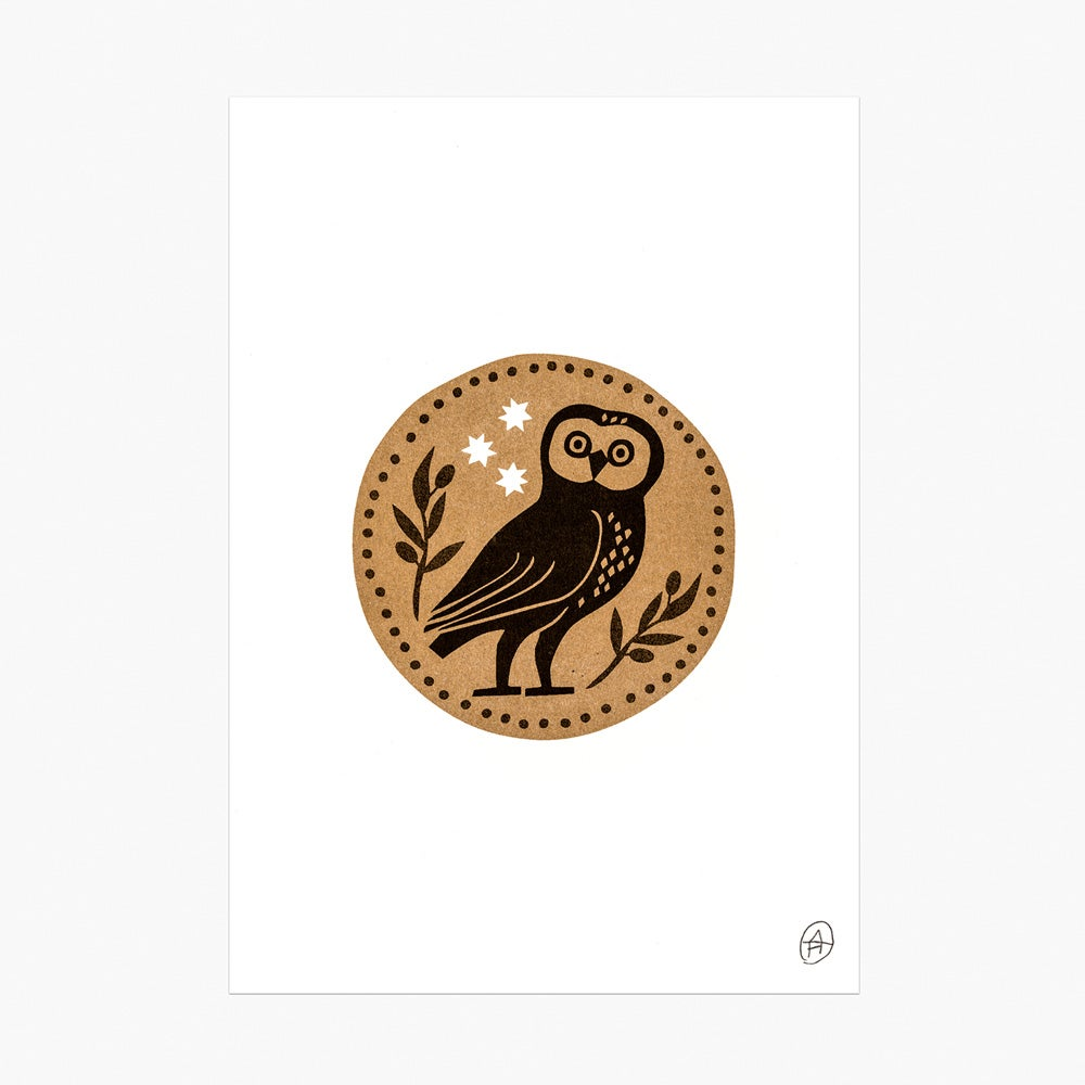 Image of Watchful Owl riso print