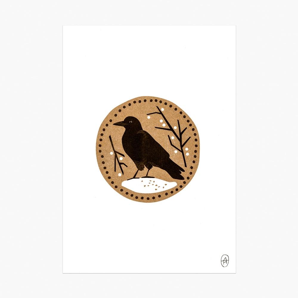 Image of Winter Crow riso print