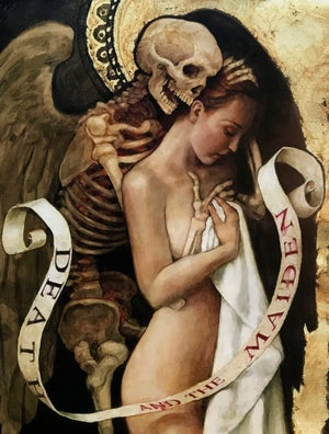"Image of ""Death and the Maiden"" signed and mounted print"