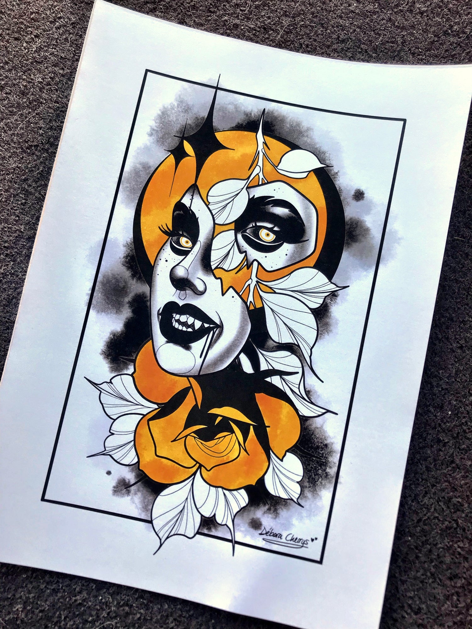 Image of PRINT ROSE & FACE 1
