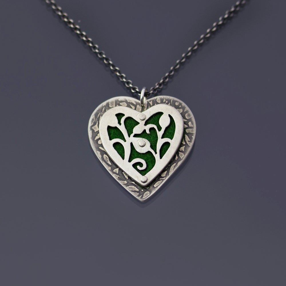 Image of Felt and Sterling Silver Heart Necklace