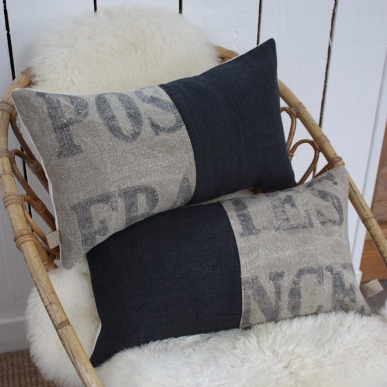 Image of Coussin Poste France & chanvre gris orage.
