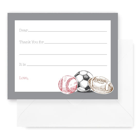 Image of Sports Fill In Notecard Set