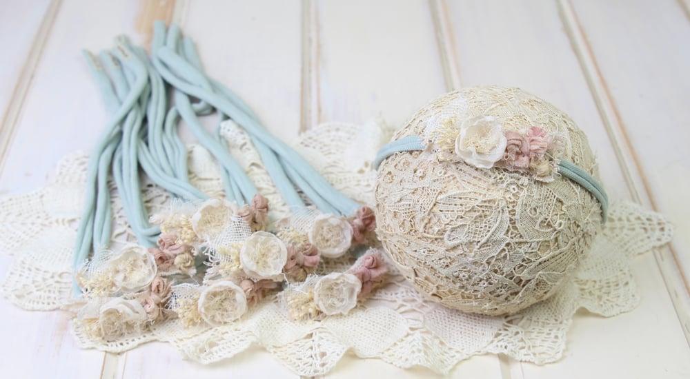 Image of Ivory Bloom, Blush Silk Bow & Rustic Rosette on Sage Jersey Tieback