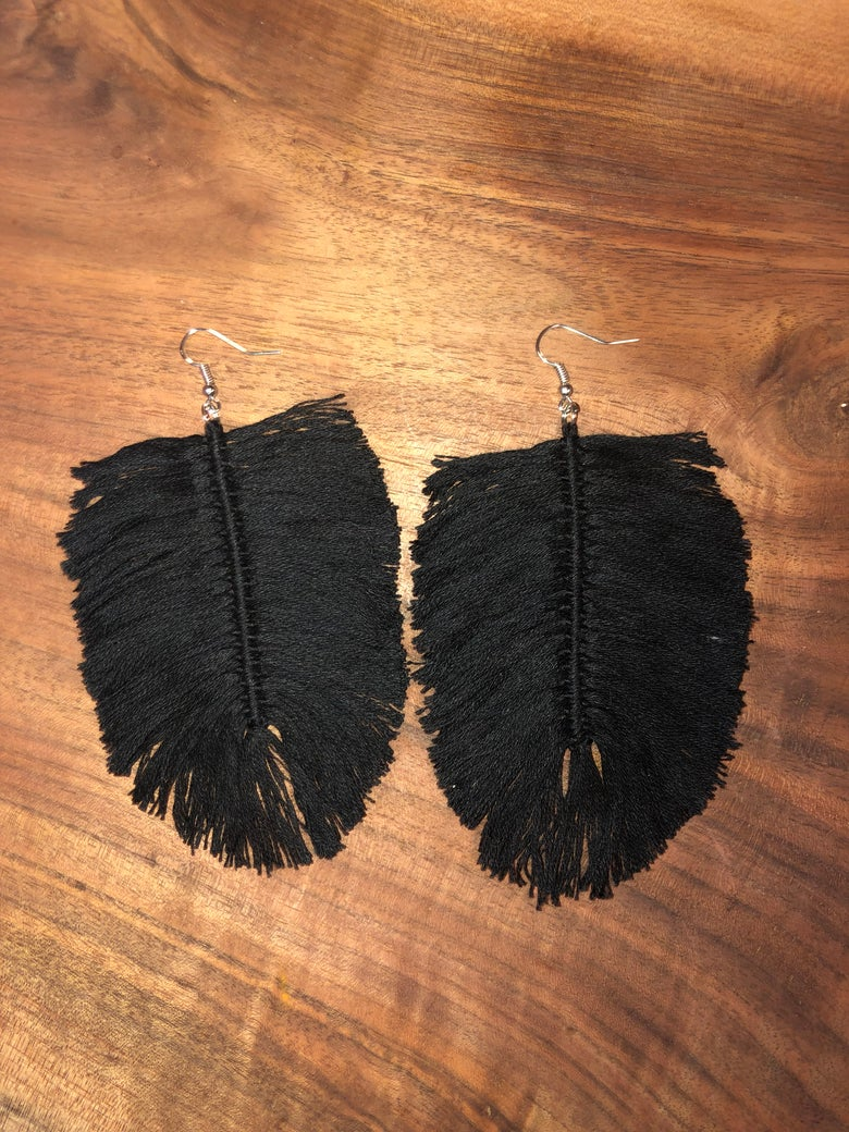 Image of Cotton Feather Earrings (additional colors)