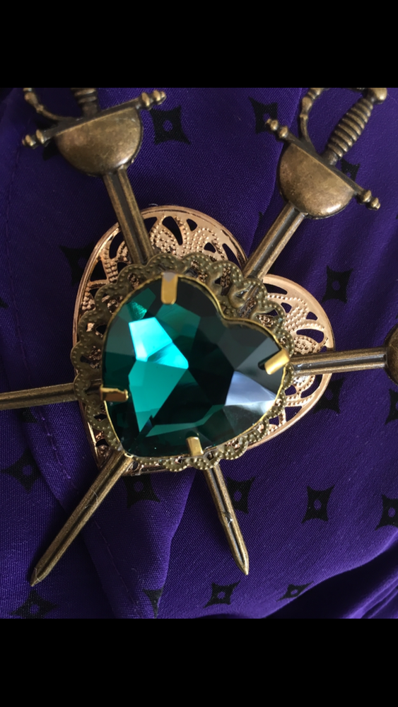 Image of Neo Victorian Style 3 Of Swords Tarot Card Inspired Brooch In Teal Green