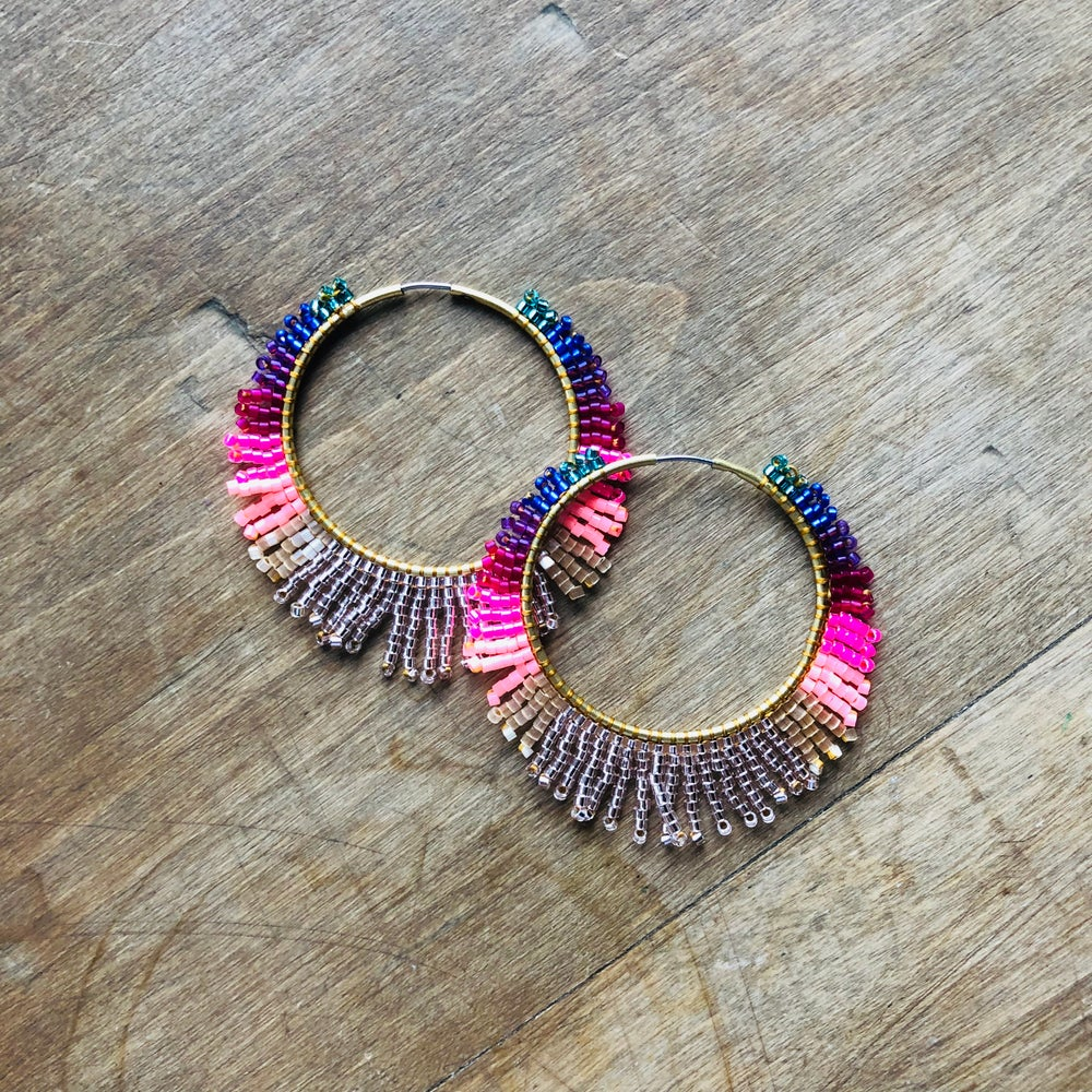 Image of Medium rainbow sunburst earrings