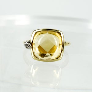 Image of 14ct yellow gold dress ring with Citrine and diamond