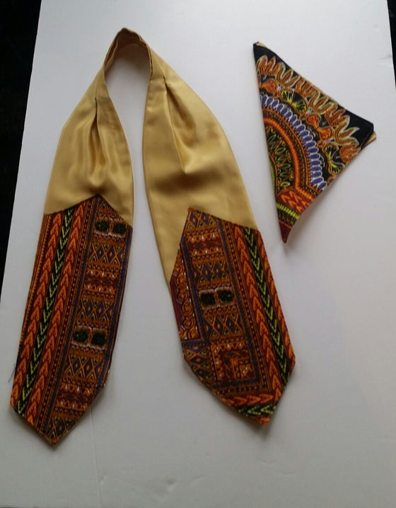 Image of Golden Satin Cravat & Pocket Square Sets (1)