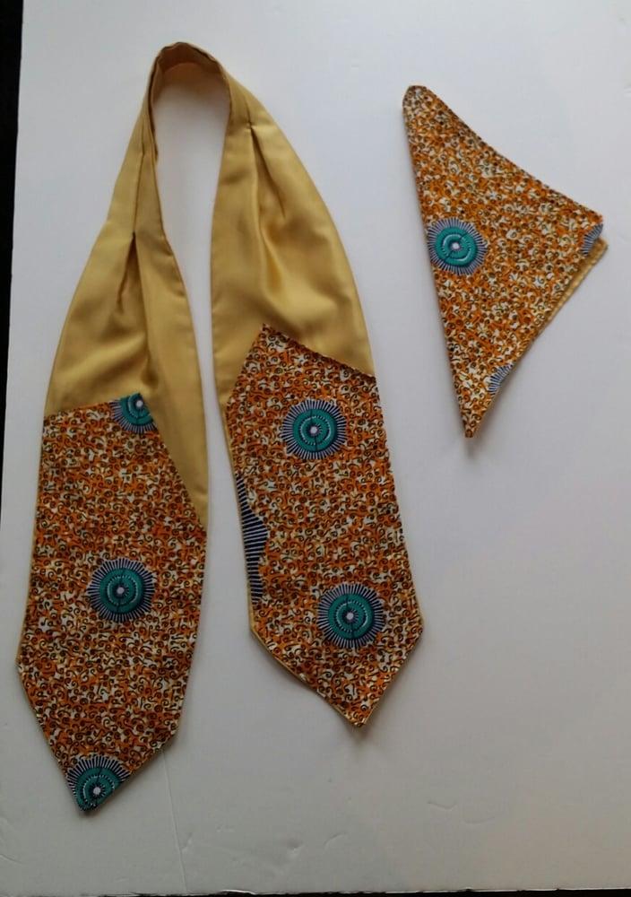 Image of Golden Satin Cravat & Pocket Square Sets (1)