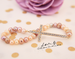 Image of Golden Crystal Cross Genuine Freshwater Pearls Stretch Bracelet