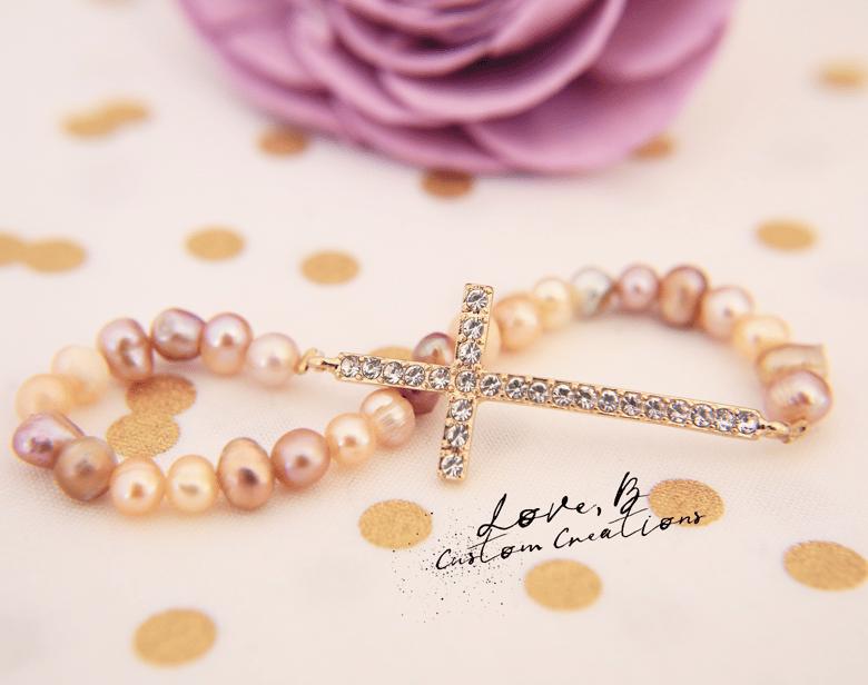 Image of Golden Crystal Cross Genuine Freshwater Pearls Stretch Bracelet