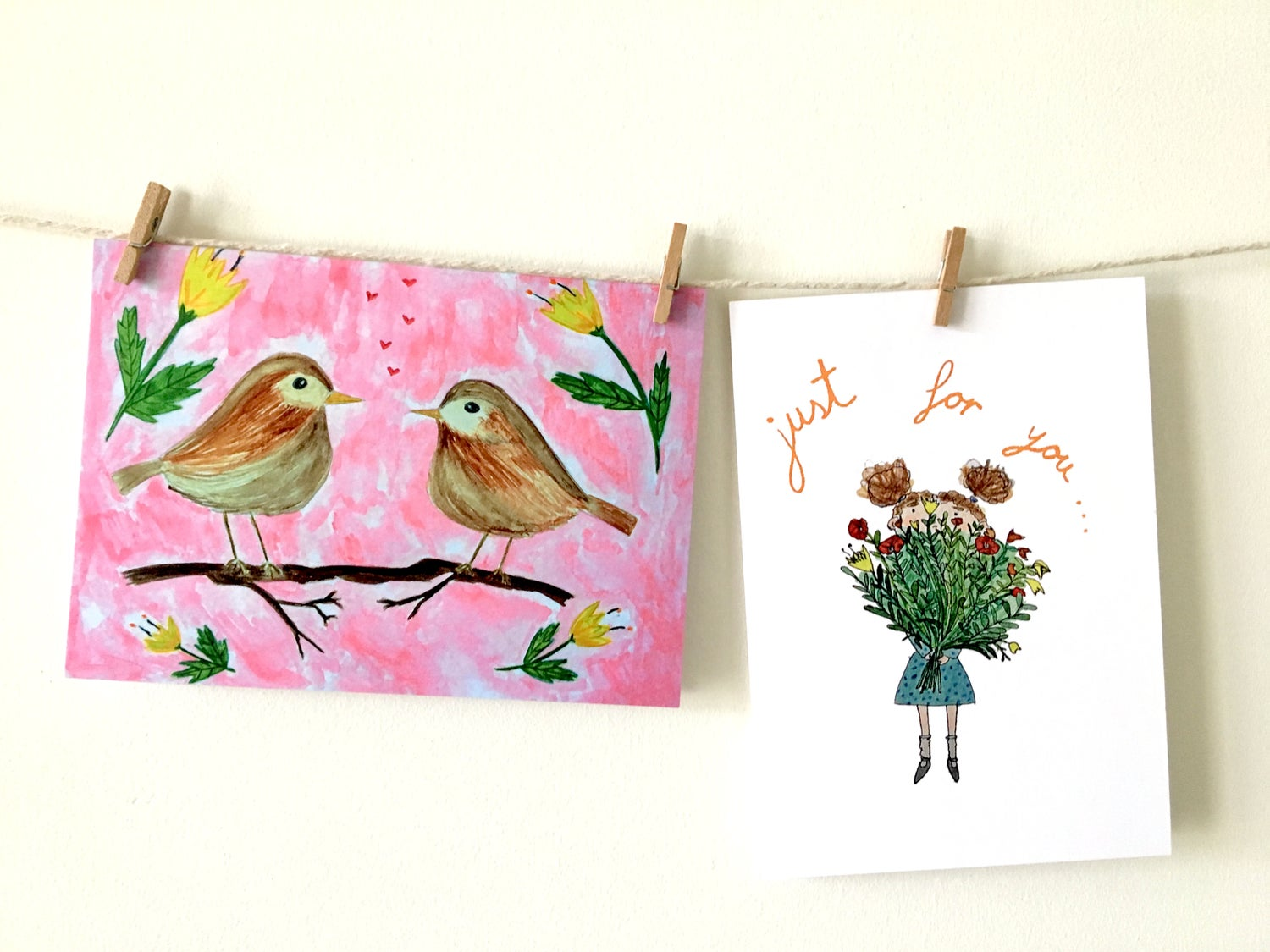 Image of Robins in love and Just for You Greeting Cards
