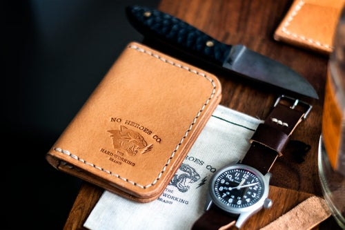 "Image of Corsair — ""Natural Tan"" Italian Cowhide Leather Front Pocket Wallet"