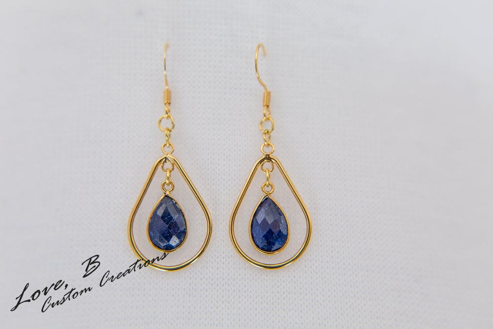 Image of Genuine Fissure Sapphire Tear-Drop Earrings