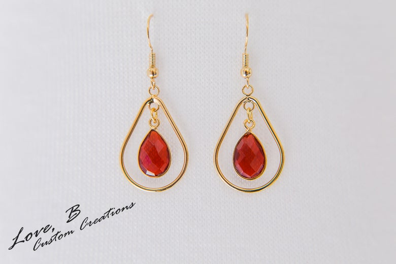 Image of Genuine Garnet Pear Tear-Drop Earrings
