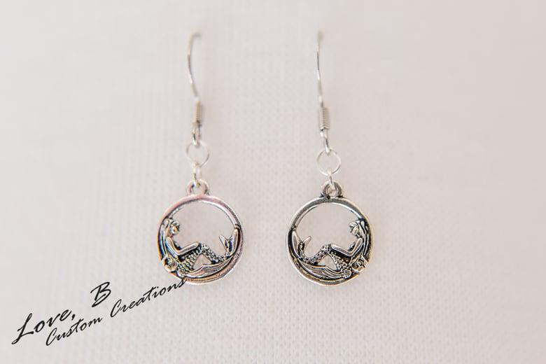 Image of Small Silver Mermaid Earrings
