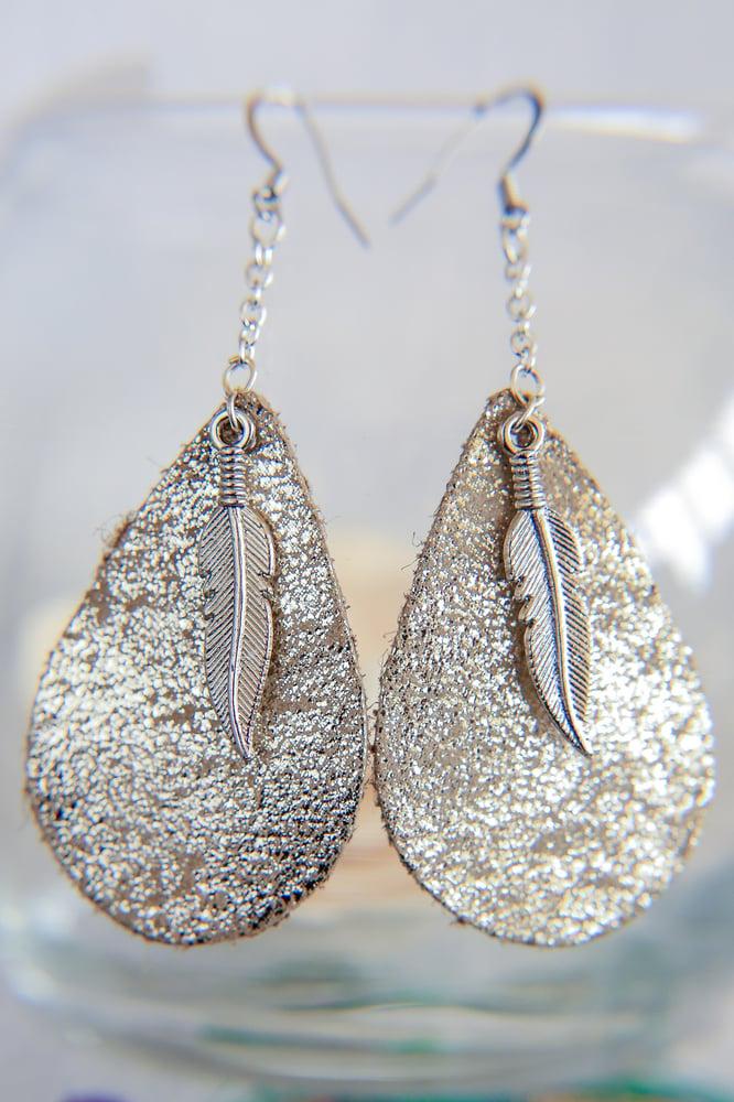 Image of Metallic Dangle Leather + Metal Feather Earrings