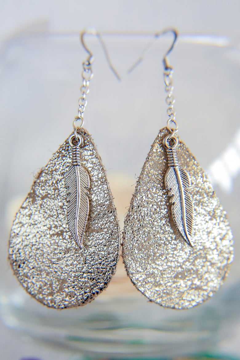Image of Metallic Dangle Leather + Metal Feather Earrings