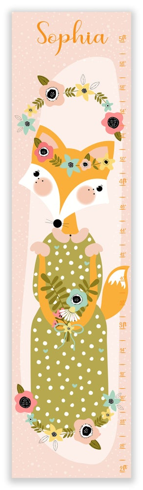 Image of Sweet Boho Vintage Woodland Fox - Personalized Canvas Growth Chart