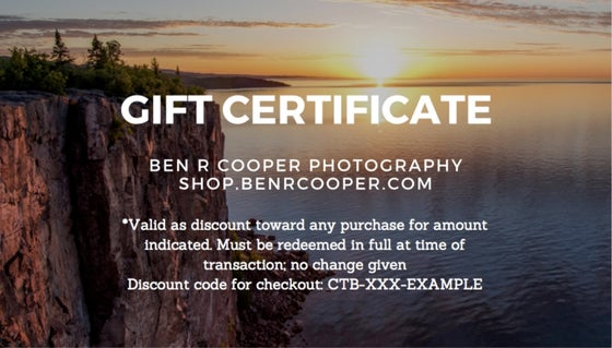 Image of Gift Certificate Ben R Cooper Photography
