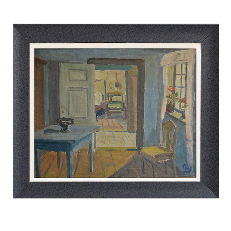 Image of Mid-century, Swedish Oil, 'The Little House'