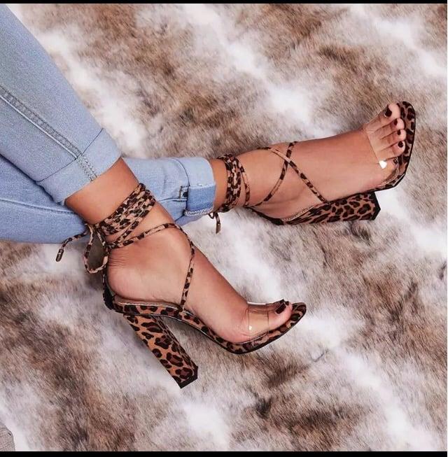 leopard clear heels