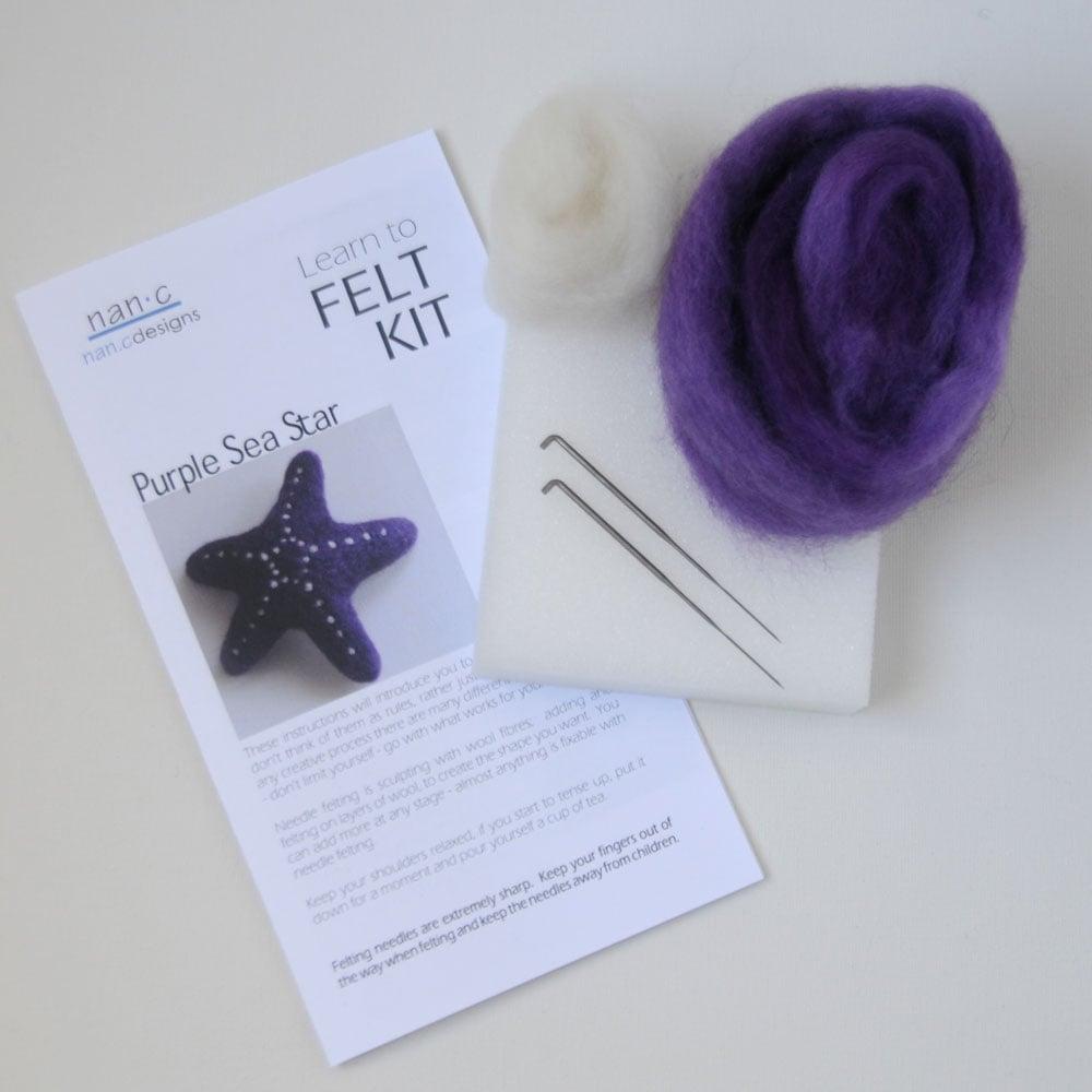 Image of Purple Sea Star - Needle Felting Kit