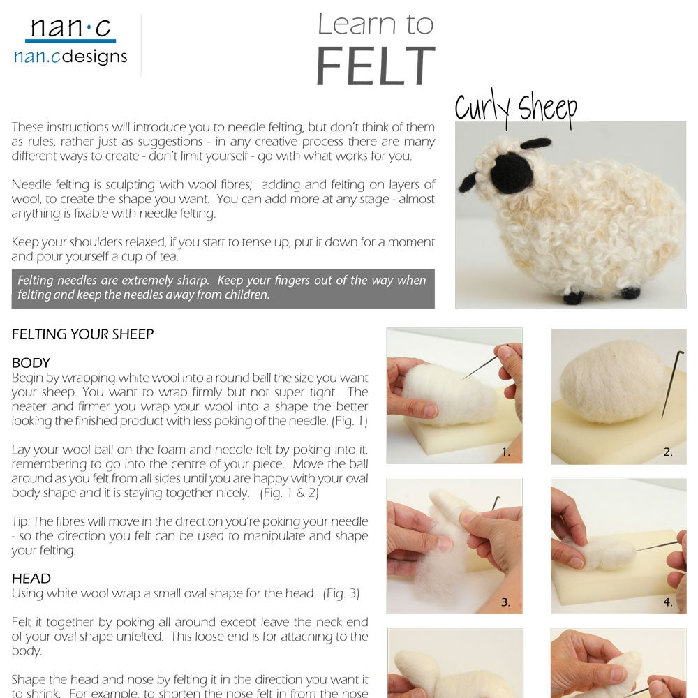 PDF Curly Sheep Felting Instructions