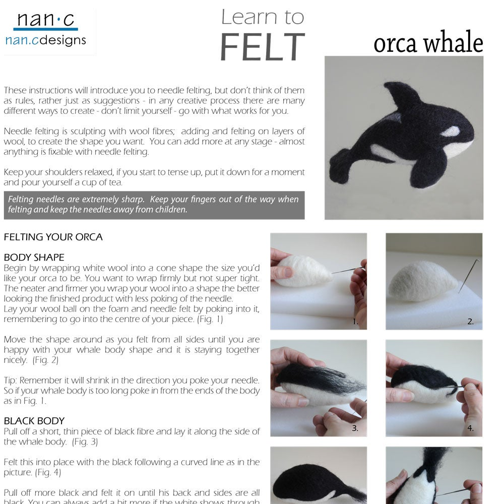 Image of PDF Orca Whale Felting Instructions