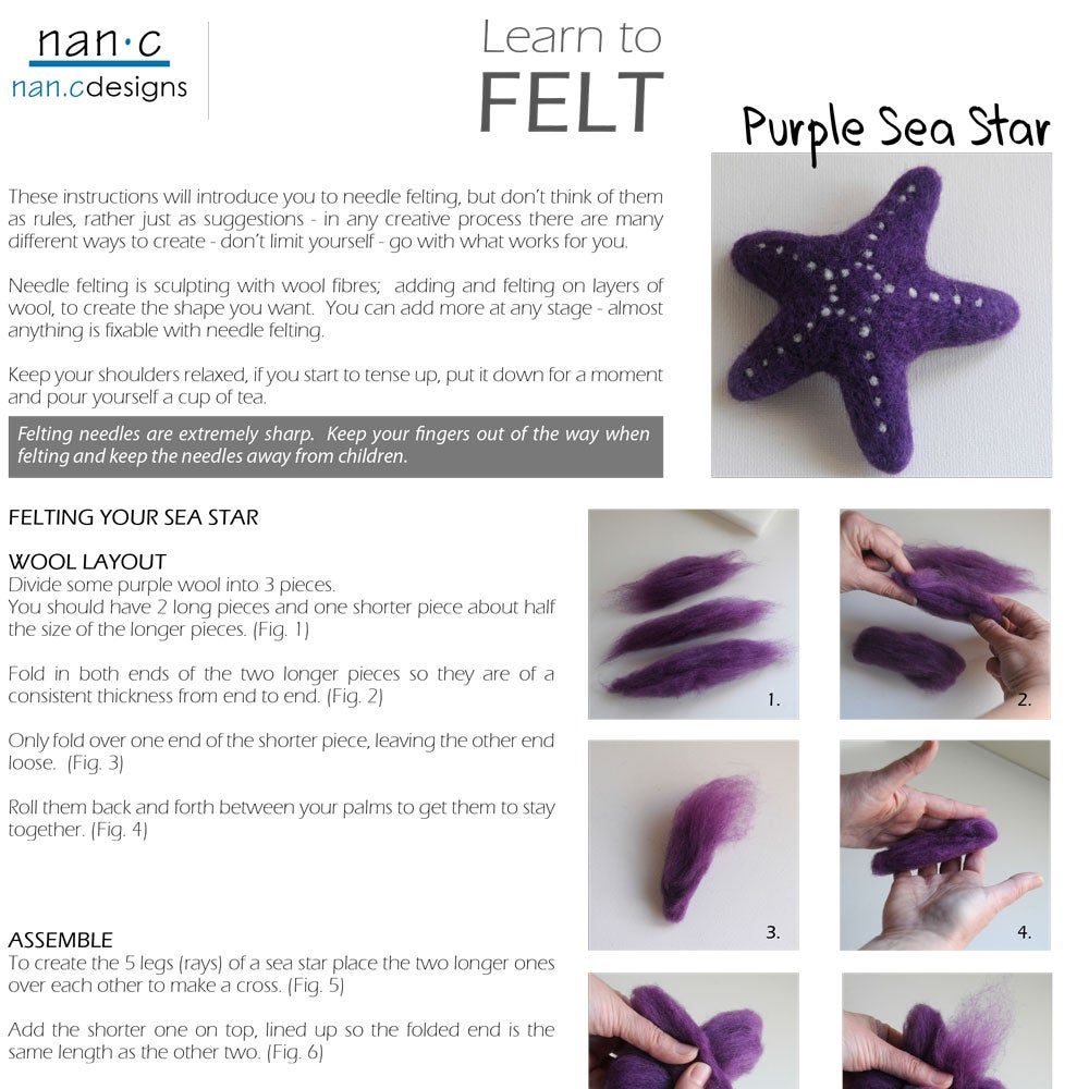Image of PDF Purple Sea Star Felting Instructions