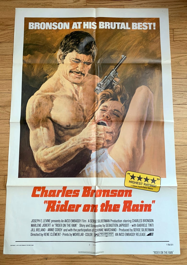 Image of 1970 RIDER ON THE RAIN Original U.S. One Sheet Movie Poster