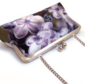 Image of Lilac hydrangea silk clutch bag