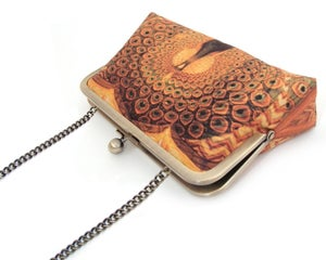 Image of Peacock palace silk clutch bag