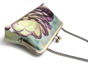 Image of Green + purple Succulent clutch bag