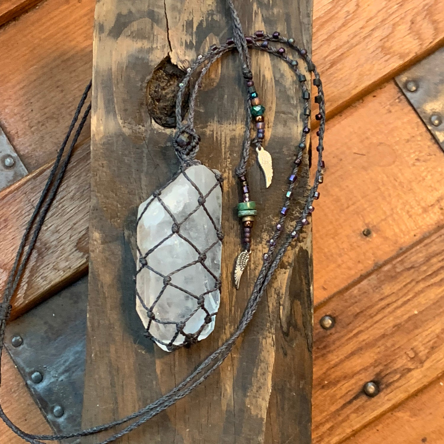 Image of Let's howl at the moon at midnight...Quartz Necklace