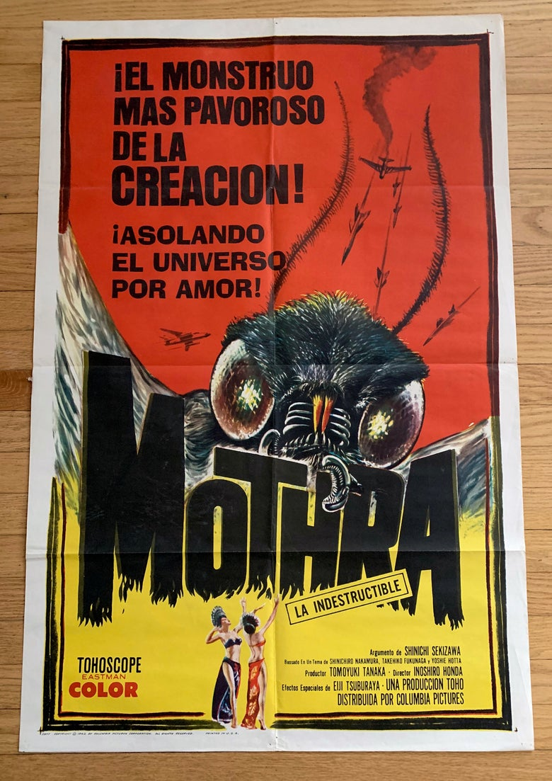 Image of 1962 MOTHRA Original Spanish One Sheet Movie Poster