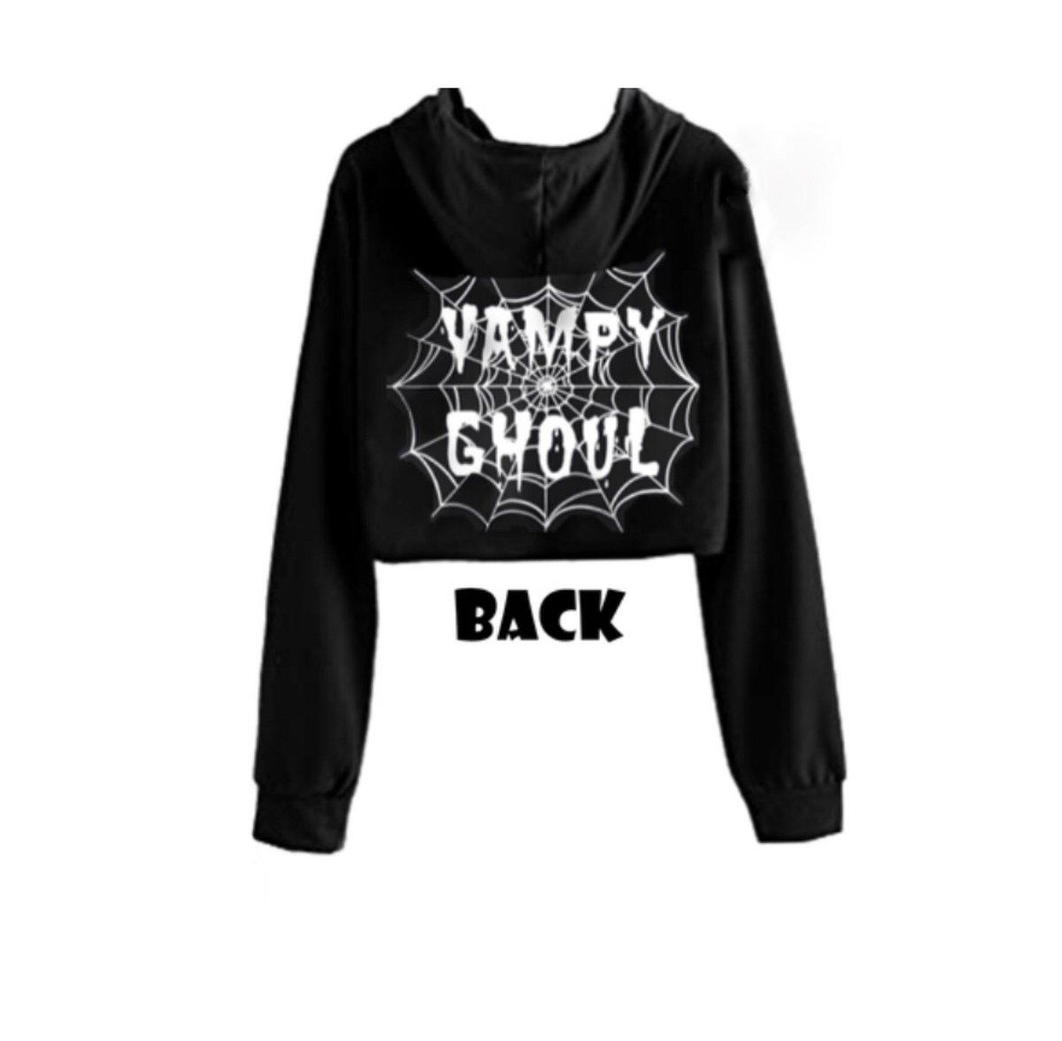 Image of Vampy Ghoul Web Cropped Hoodie